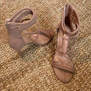 Beige strappy heels with zip back